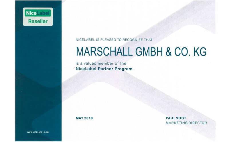 zertifikat nicelabel für marschall