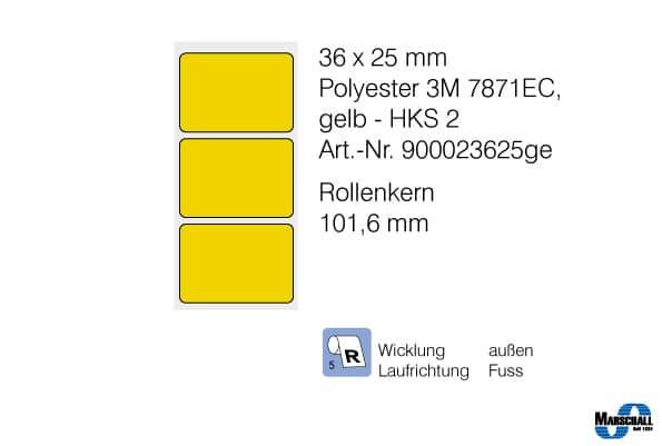 etiketten 36x25 in gelb