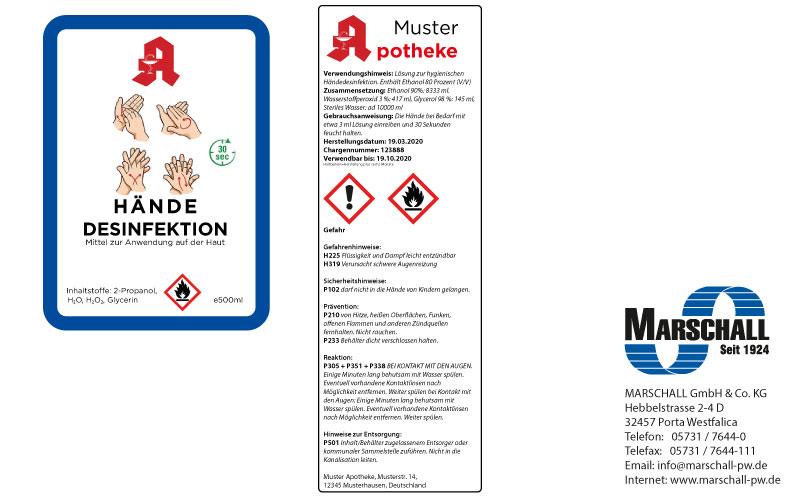 Etikett für Desinfektionsmittel